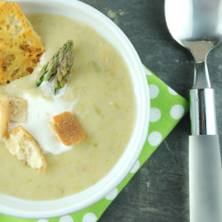 Asparagus and Leek Soup with Cheese Crisps