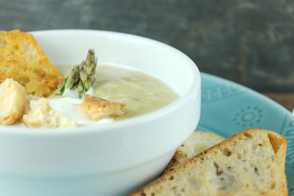 Asparagus and Leek Soup with Cheese Crisps 2