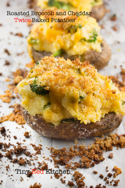 Roasted Broccoli and Cheddar Twice Baked Potatoes @ http://www.tinyredkitchen.com